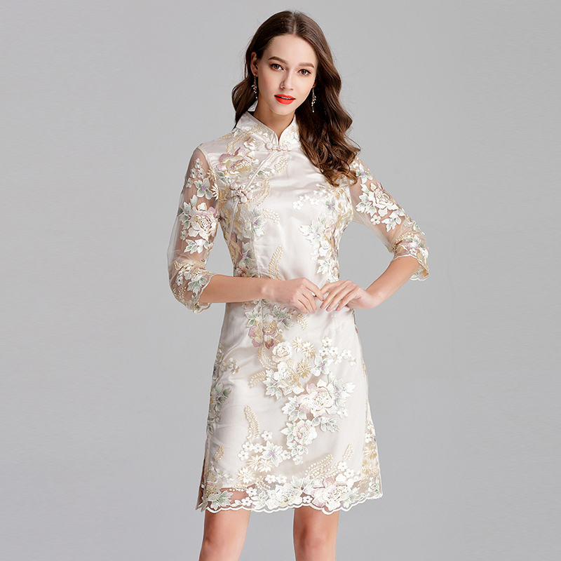 728-298 EMBROIDERY LACE CHEONGSAM